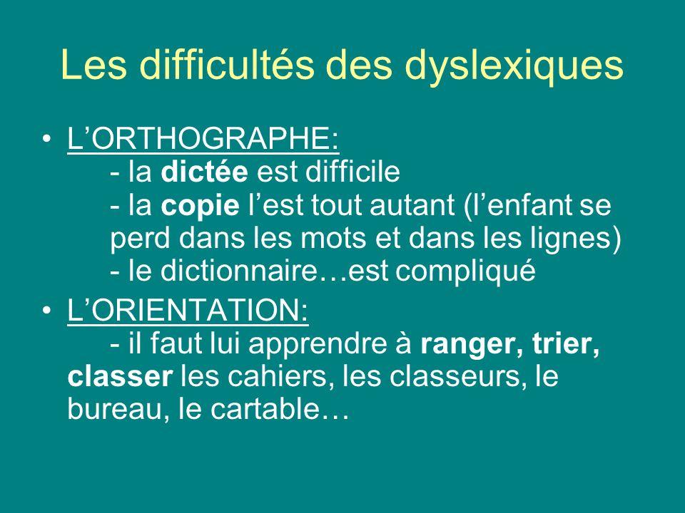 Les difficultés des dyslexiques