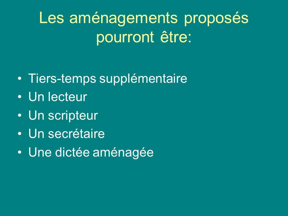 Les aménagements proposés pourront être: