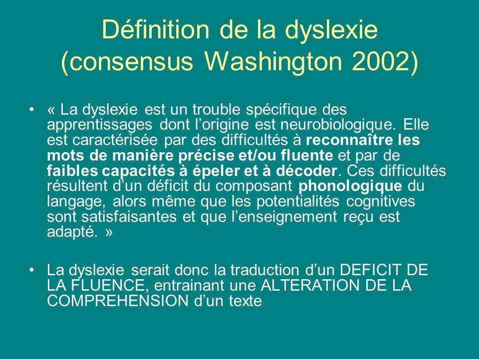 Définition de la dyslexie (consensus Washington 2002)