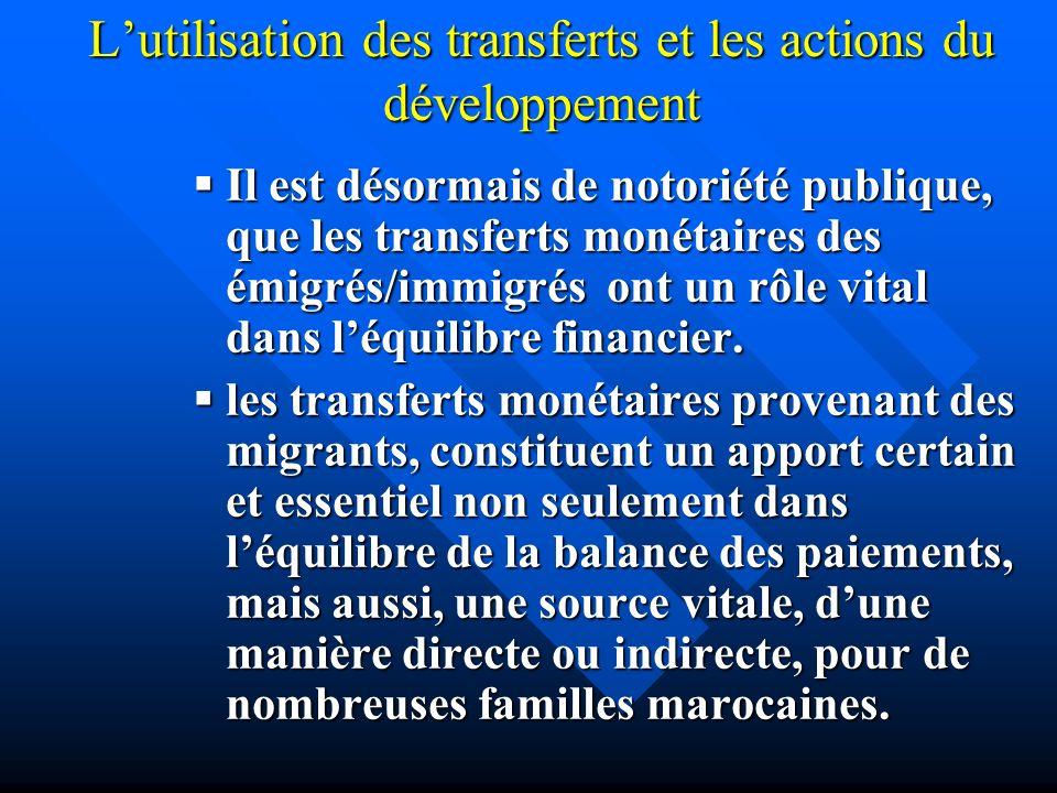 L'utilisation des transferts et les actions du développement