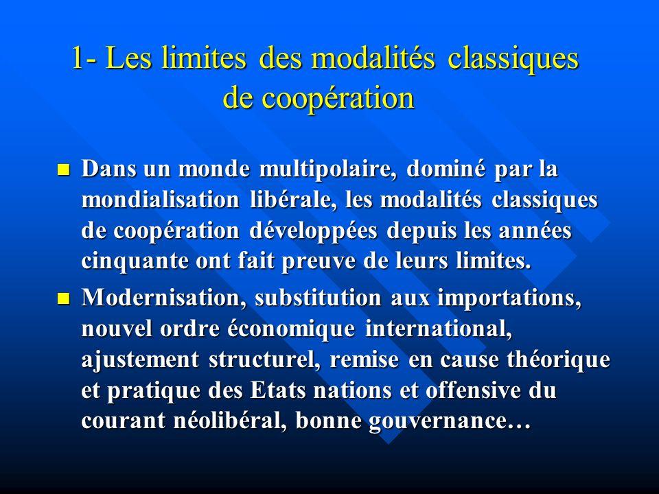 1- Les limites des modalités classiques de coopération