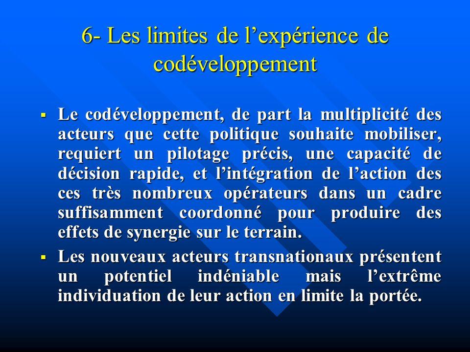 6- Les limites de l'expérience de codéveloppement