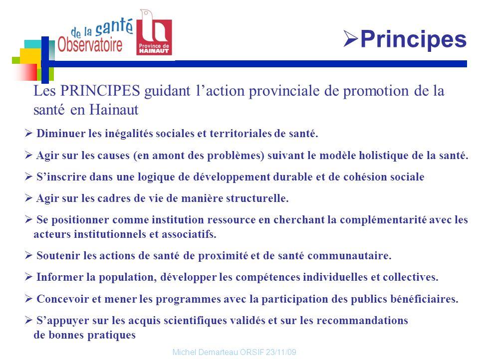 PrincipesLes PRINCIPES guidant l'action provinciale de promotion de la santé en Hainaut. Diminuer les inégalités sociales et territoriales de santé.