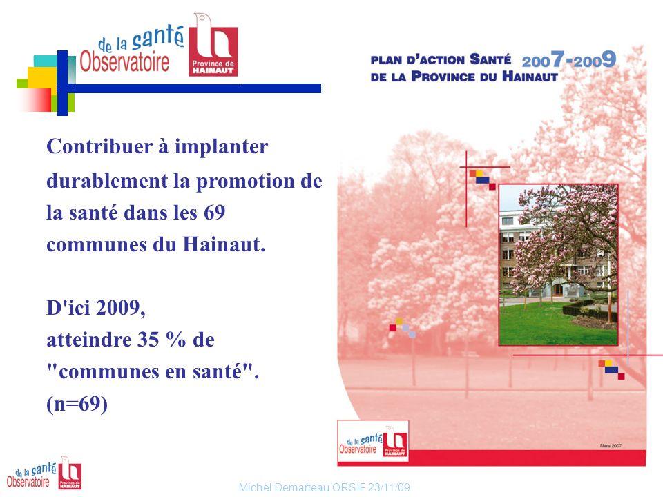 Contribuer à implanter durablement la promotion de la santé dans les 69 communes du Hainaut.