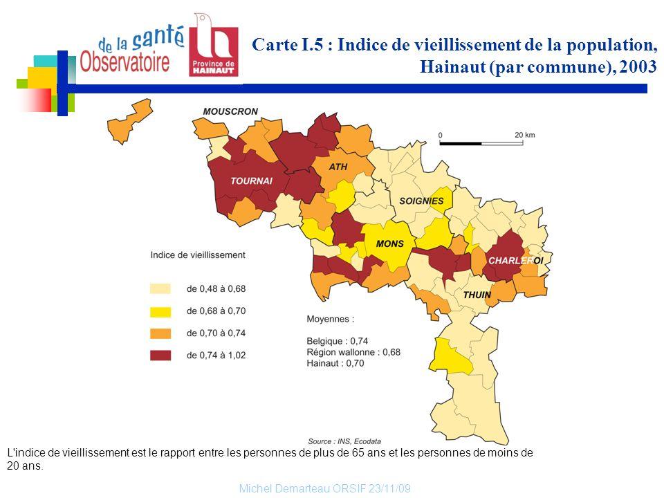 Carte I.5 : Indice de vieillissement de la population, Hainaut (par commune), 2003