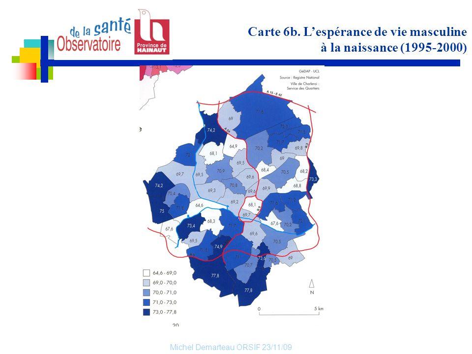 Carte 6b. L'espérance de vie masculine à la naissance (1995-2000)