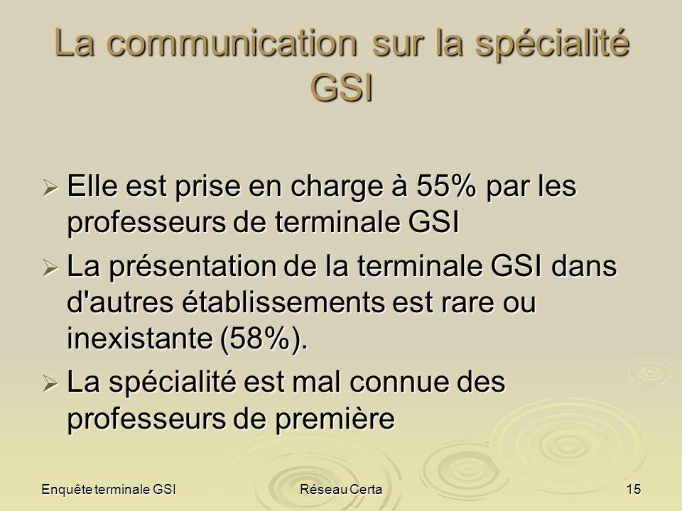 La communication sur la spécialité GSI