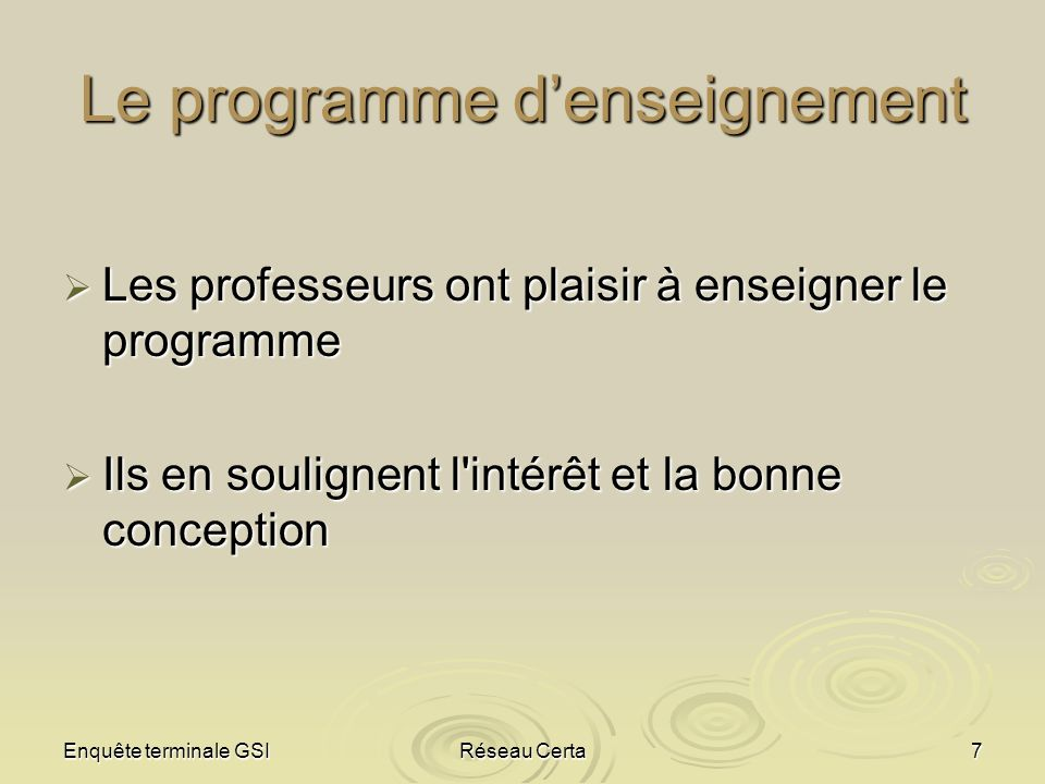 Le programme d'enseignement