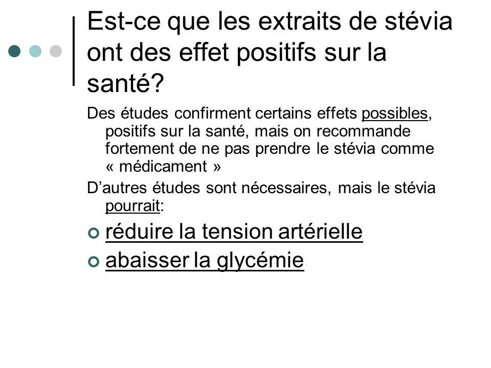 Est-ce que les extraits de stévia ont des effet positifs sur la santé