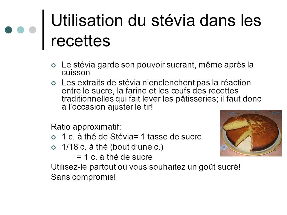 Utilisation du stévia dans les recettes