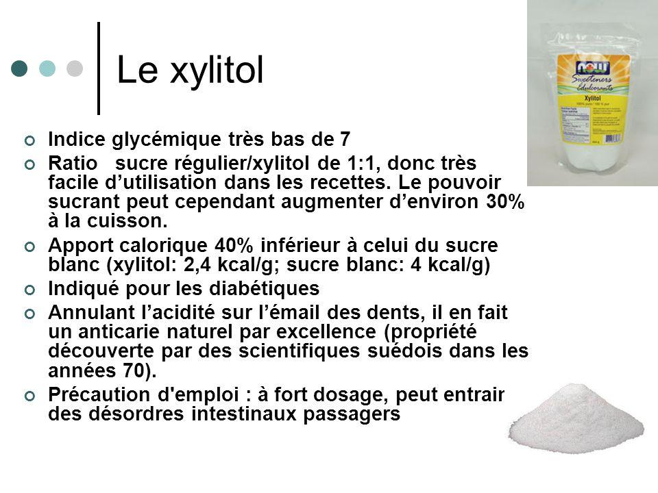 Le xylitol Indice glycémique très bas de 7