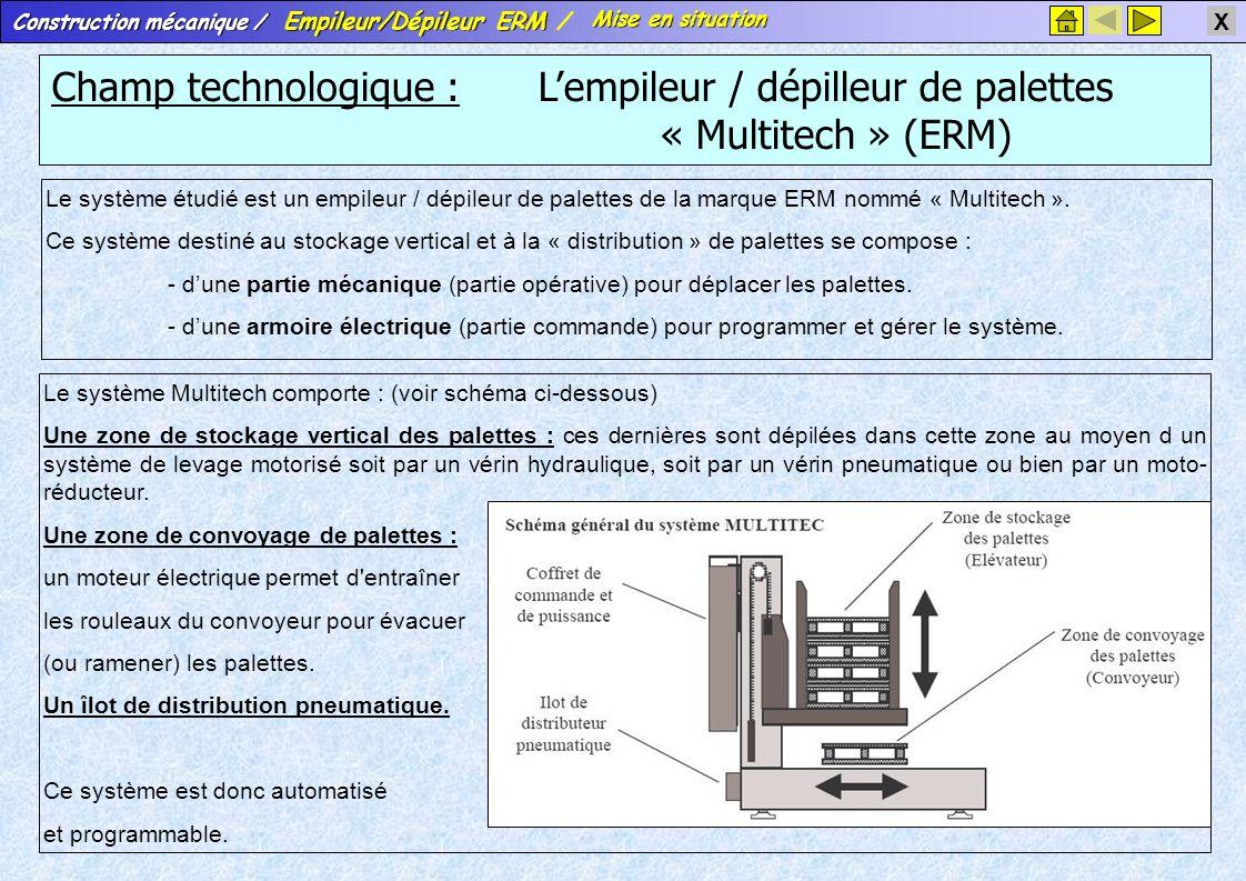 Mise en situation Champ technologique : L'empileur / dépilleur de palettes « Multitech » (ERM)