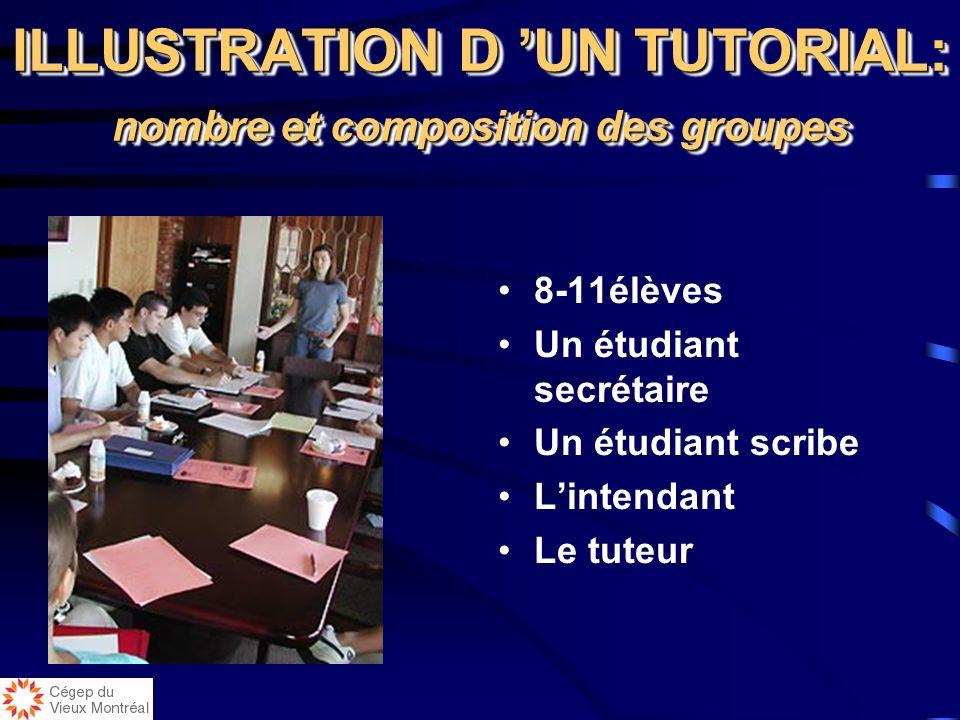 ILLUSTRATION D 'UN TUTORIAL: nombre et composition des groupes