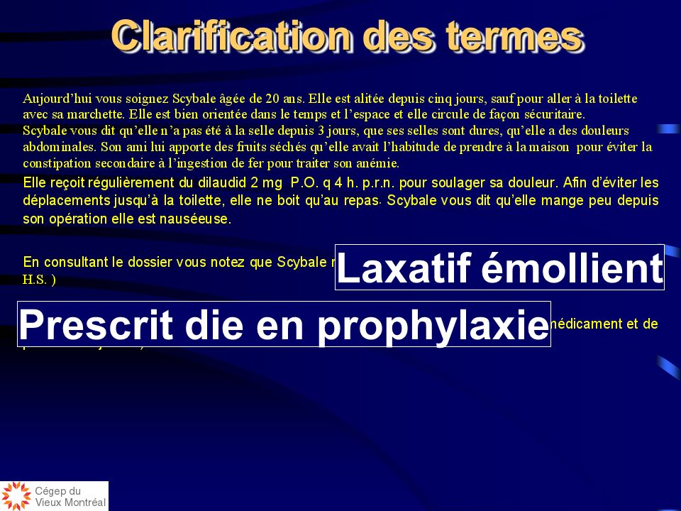 Clarification des termes Prescrit die en prophylaxie