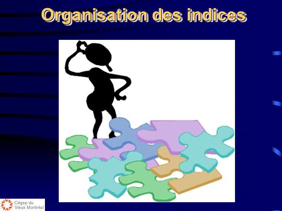 Organisation des indices