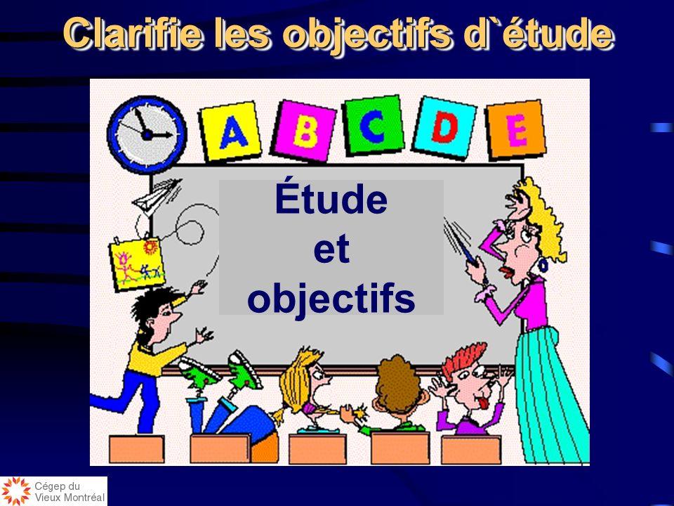 Clarifie les objectifs d`étude