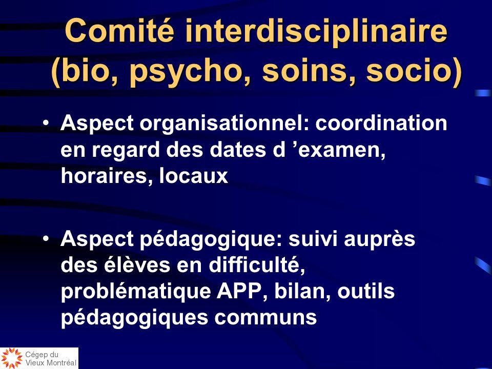 Comité interdisciplinaire (bio, psycho, soins, socio)