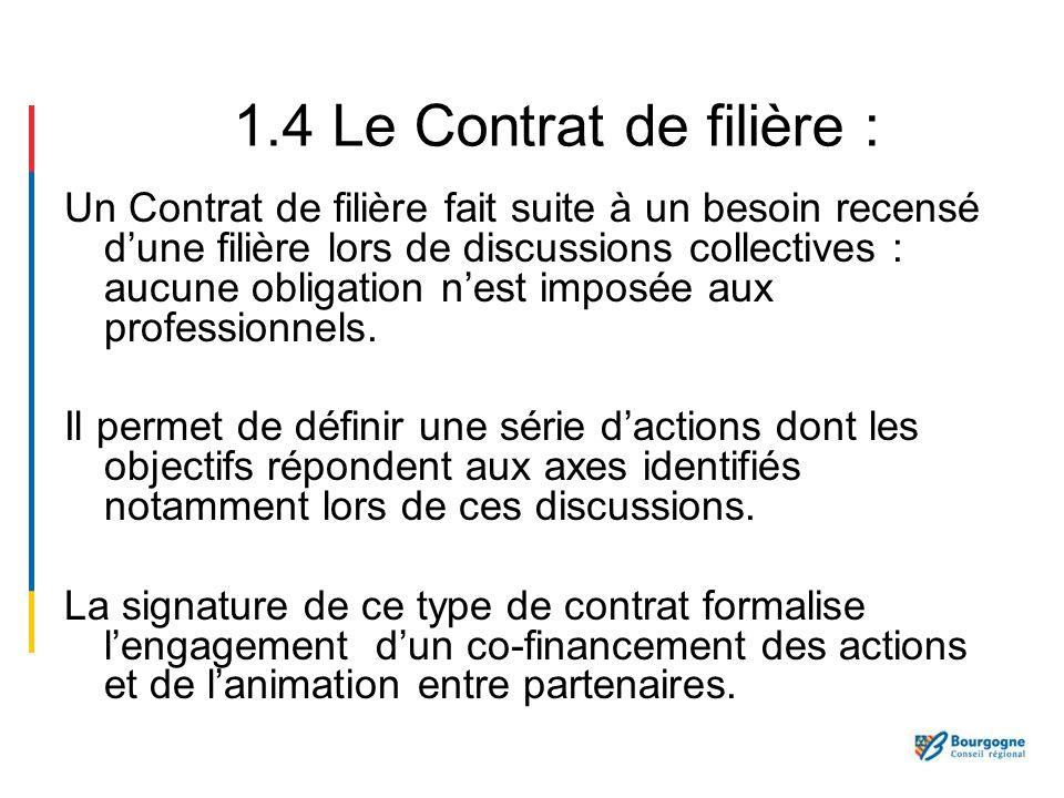 1.4 Le Contrat de filière :