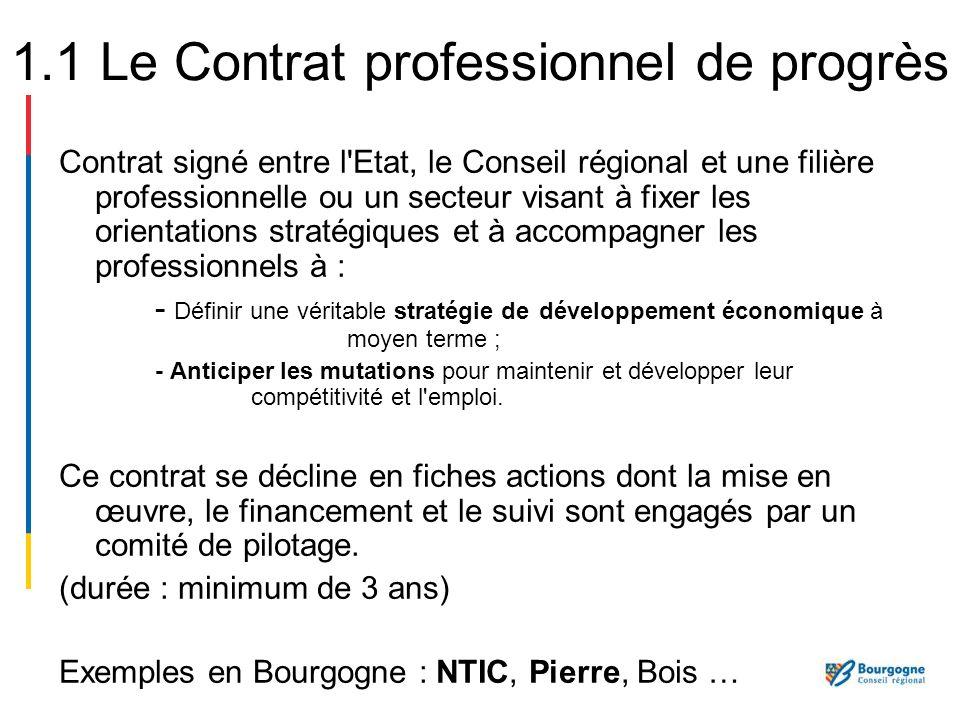 1.1 Le Contrat professionnel de progrès
