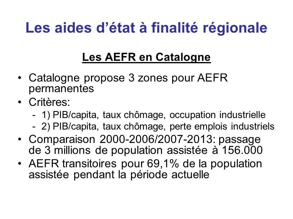 Les aides d'état à finalité régionale
