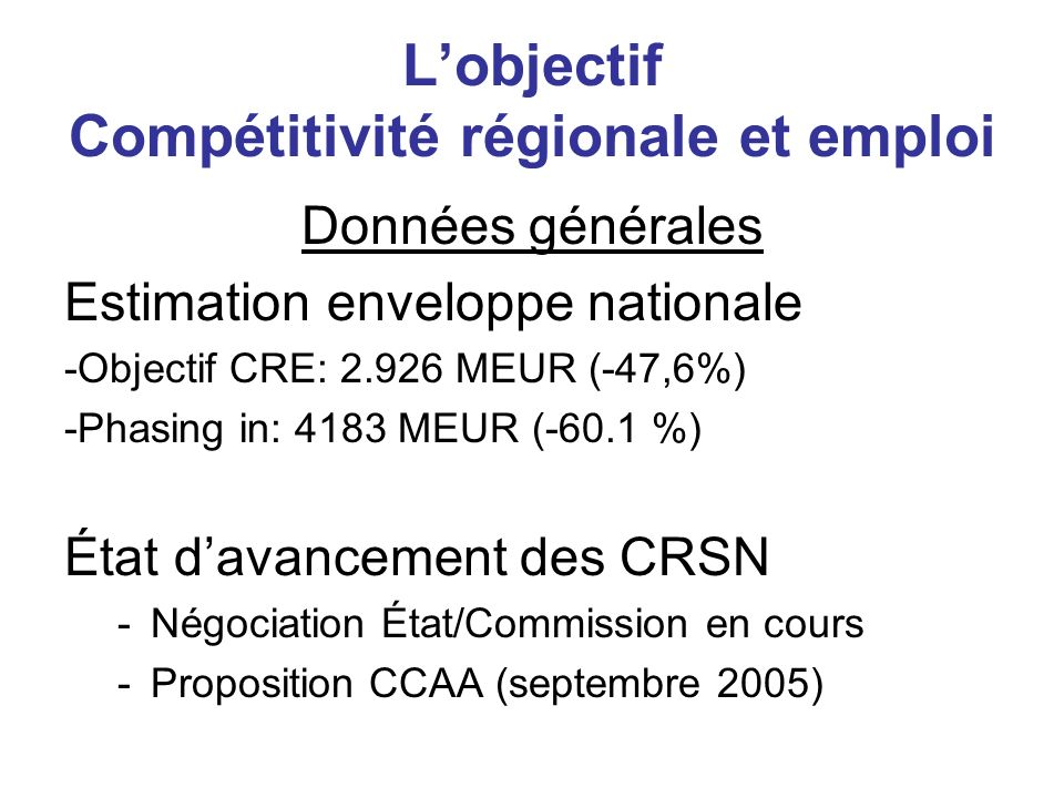 L'objectif Compétitivité régionale et emploi
