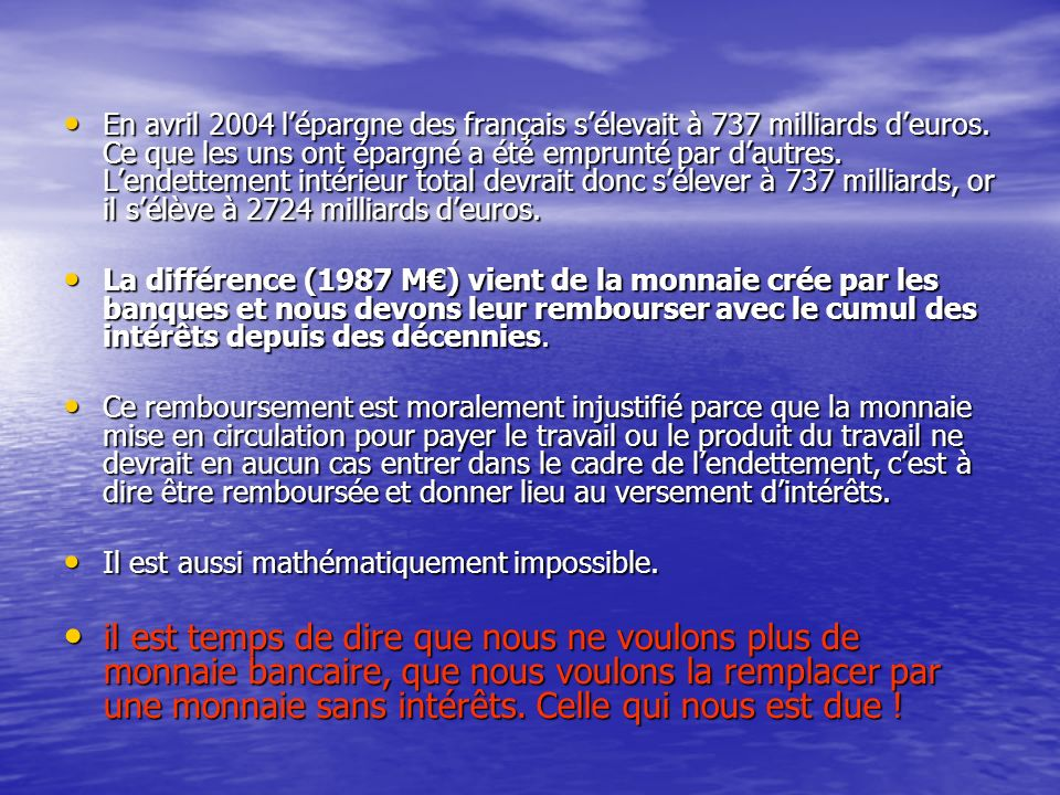 En avril 2004 l'épargne des français s'élevait à 737 milliards d'euros