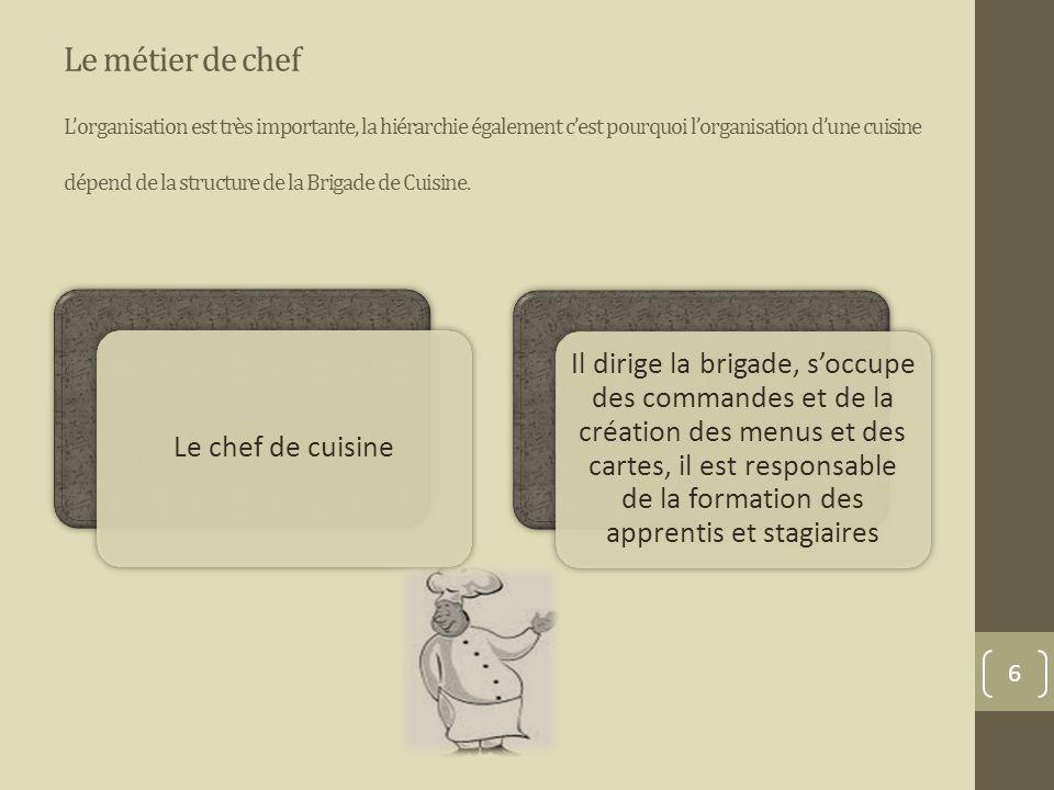 La brigade de cuisine qui fait quoi ppt video online - Formation chef de cuisine ...