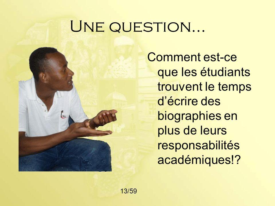 Une question... Comment est-ce que les étudiants trouvent le temps d'écrire des biographies en plus de leurs responsabilités académiques!