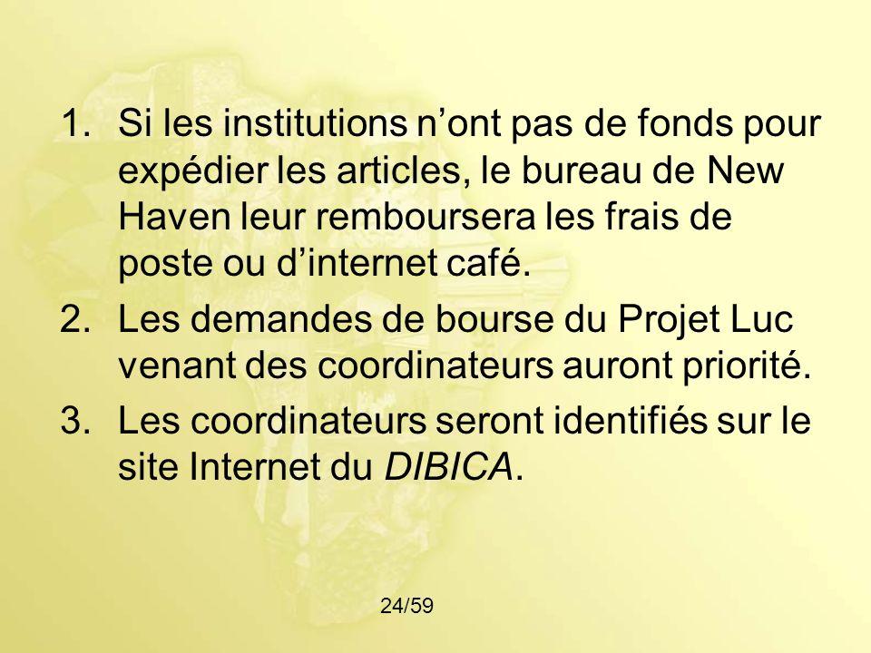 Les coordinateurs seront identifiés sur le site Internet du DIBICA.