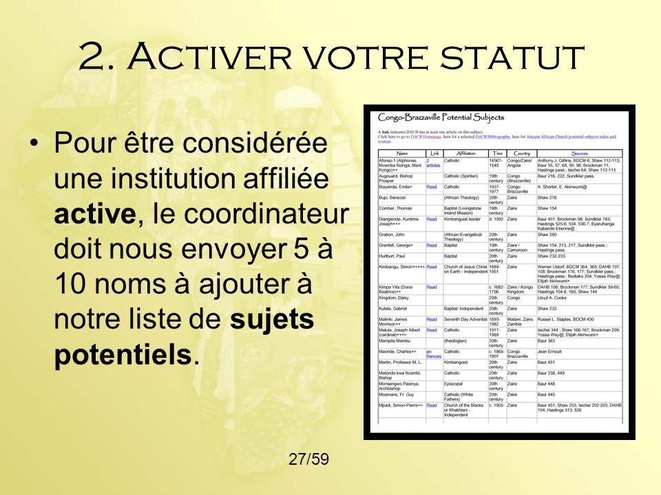 2. Activer votre statut