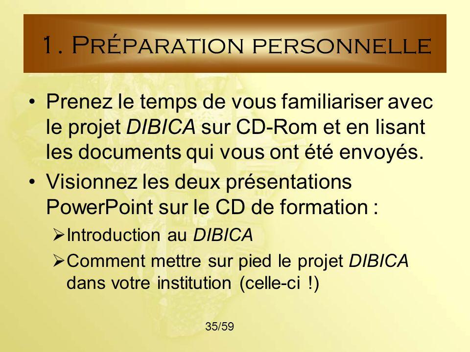 1. Préparation personnelle
