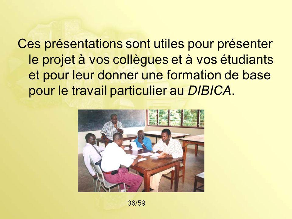 Ces présentations sont utiles pour présenter le projet à vos collègues et à vos étudiants et pour leur donner une formation de base pour le travail particulier au DIBICA.
