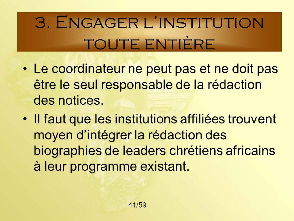 3. Engager l'institution toute entière