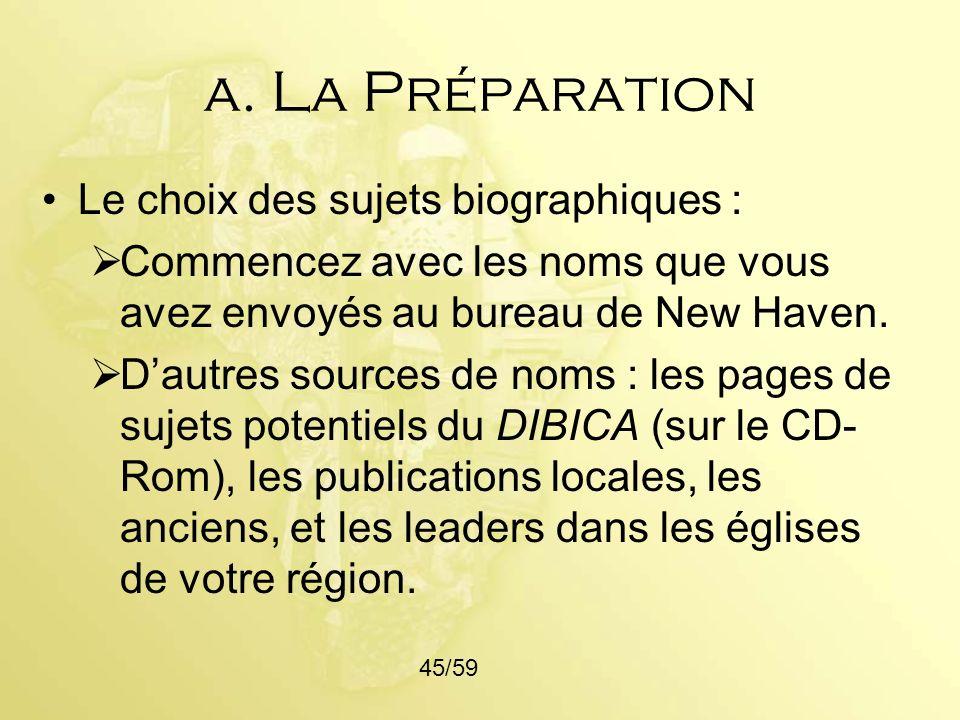 a. La Préparation Le choix des sujets biographiques :