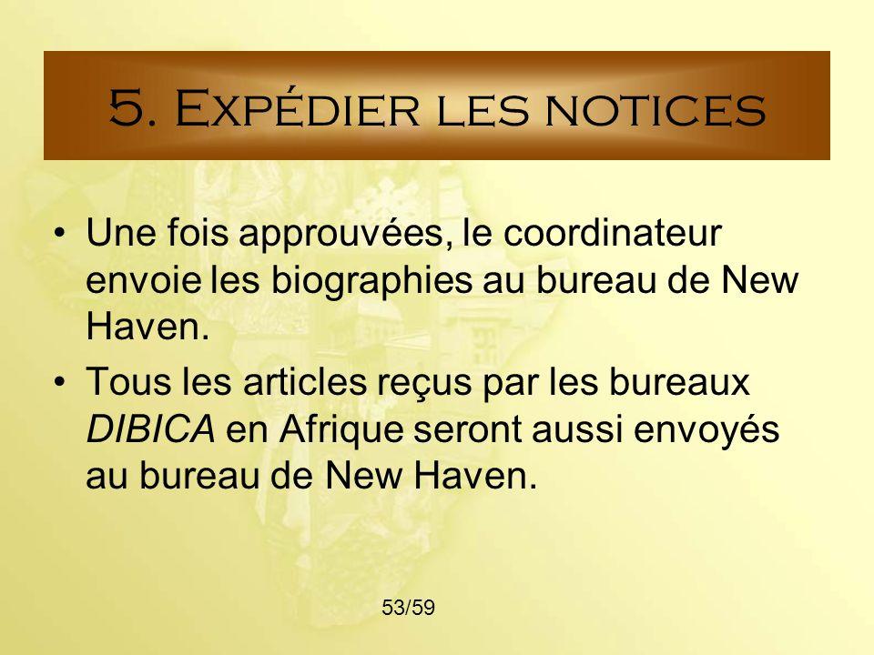 5. Expédier les notices Une fois approuvées, le coordinateur envoie les biographies au bureau de New Haven.