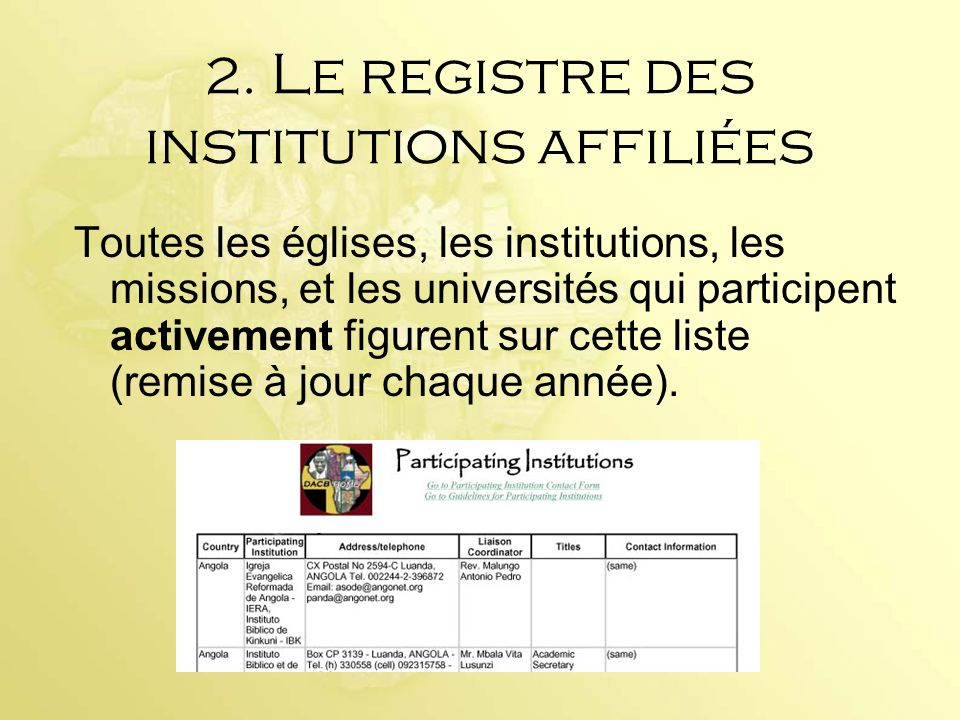 2. Le registre des institutions affiliées
