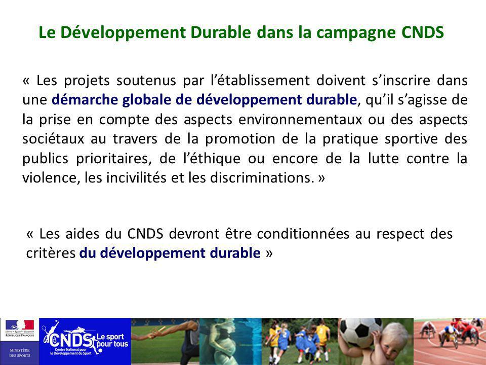 Le Développement Durable dans la campagne CNDS