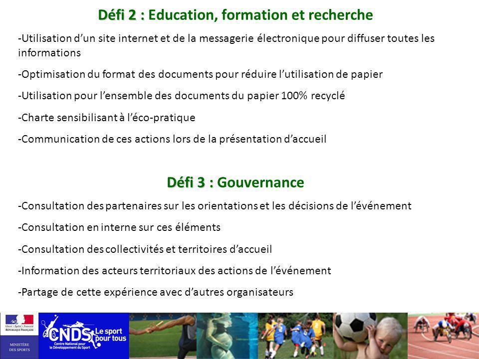 Défi 2 : Education, formation et recherche