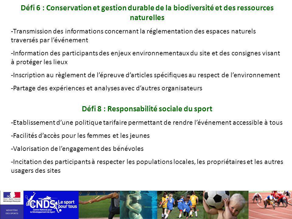 Défi 8 : Responsabilité sociale du sport