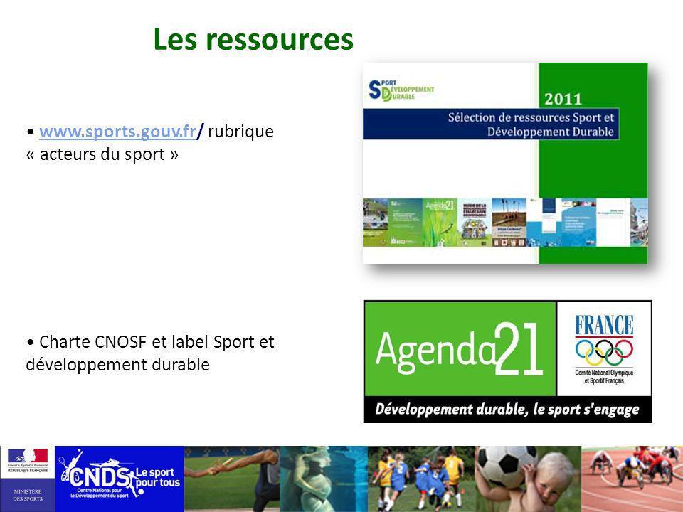 Les ressources www.sports.gouv.fr/ rubrique « acteurs du sport »
