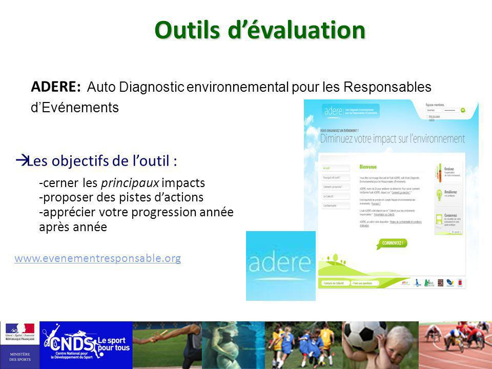 Outils d'évaluationADERE: Auto Diagnostic environnemental pour les Responsables d'Evénements. Les objectifs de l'outil :