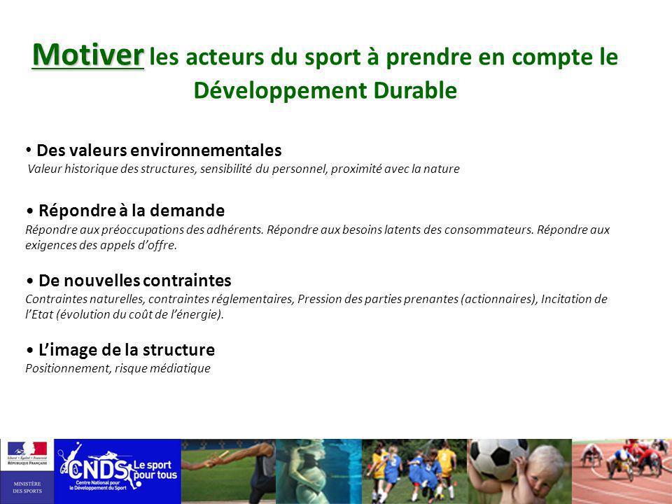 Motiver les acteurs du sport à prendre en compte le Développement Durable
