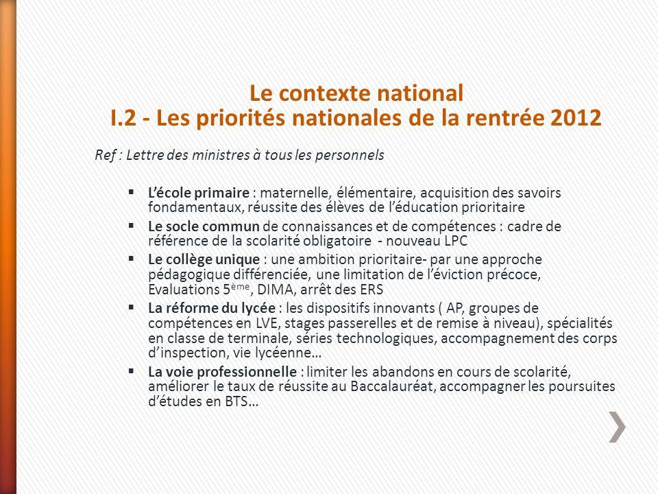I.2 - Les priorités nationales de la rentrée 2012