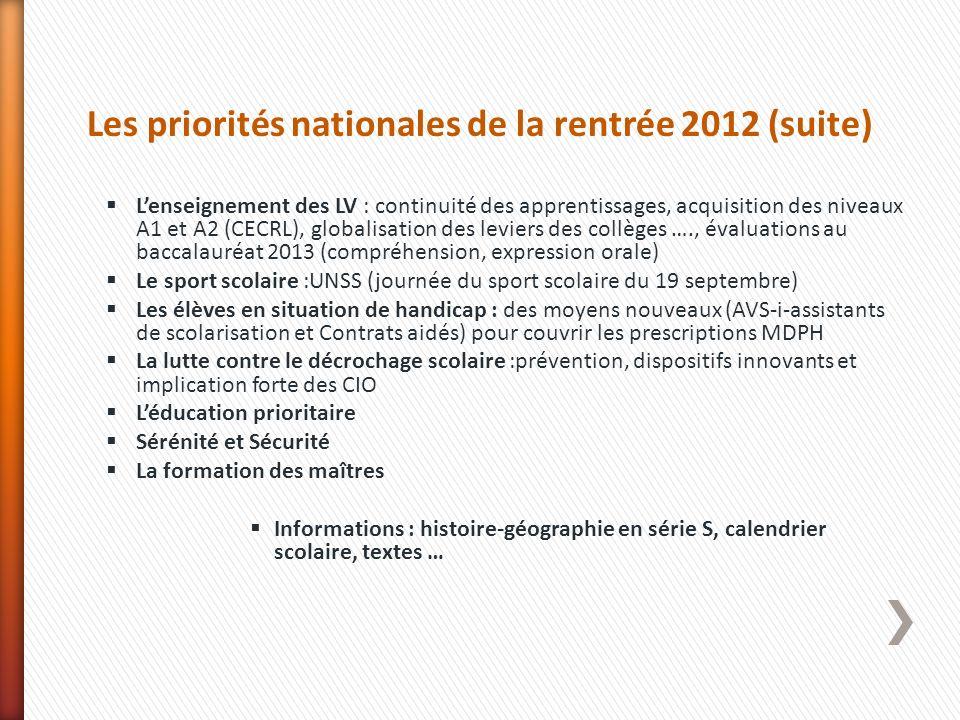 Les priorités nationales de la rentrée 2012 (suite)