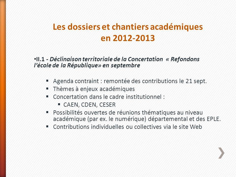 Les dossiers et chantiers académiques