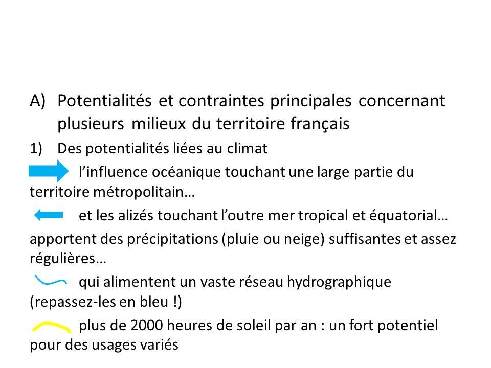 Potentialités et contraintes principales concernant plusieurs milieux du territoire français