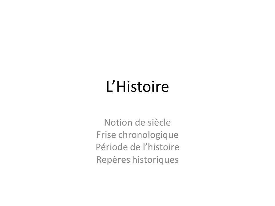L'Histoire Notion de siècle Frise chronologique Période de l'histoire