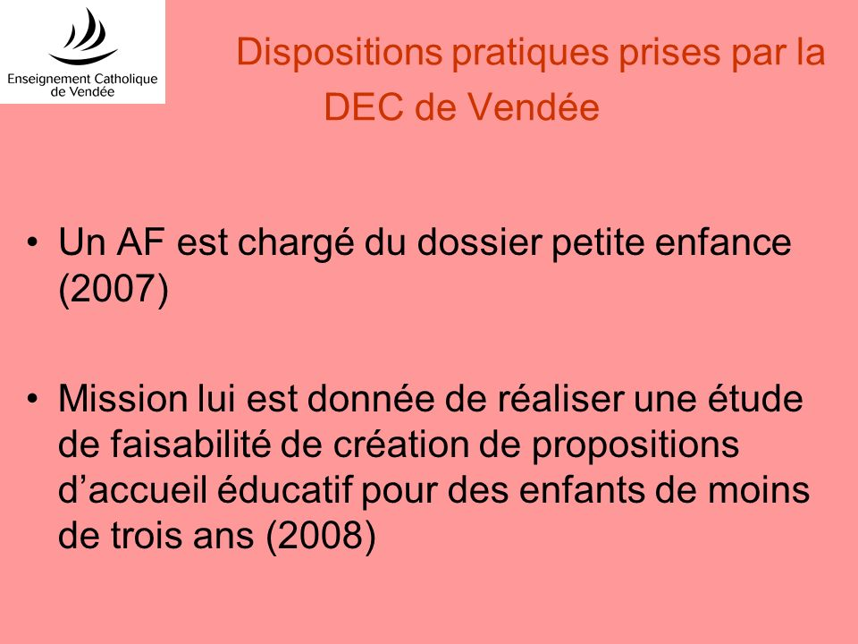 Dispositions pratiques prises par la DEC de Vendée