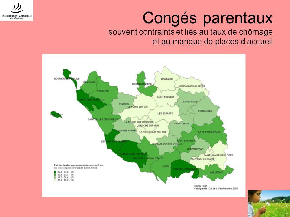 Congés parentaux souvent contraints et liés au taux de chômage et au manque de places d'accueil