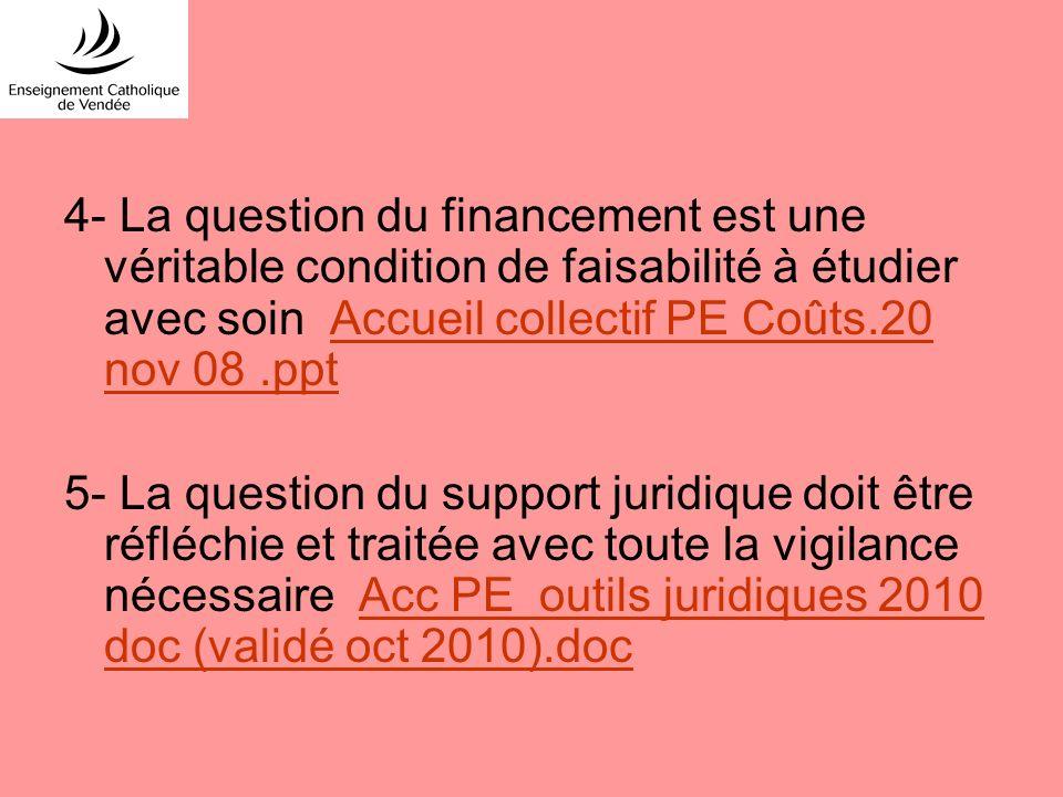 4- La question du financement est une véritable condition de faisabilité à étudier avec soin Accueil collectif PE Coûts.20 nov 08 .ppt